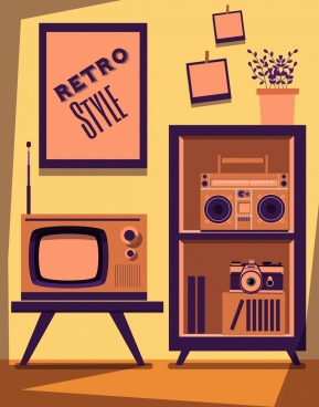 living room decor drawing retro objects ornament