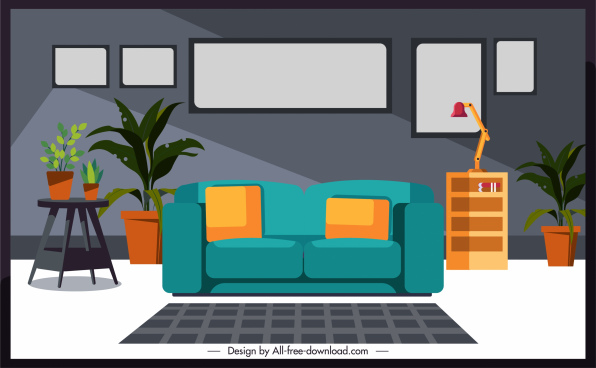 living room decor template colorful classic sketch