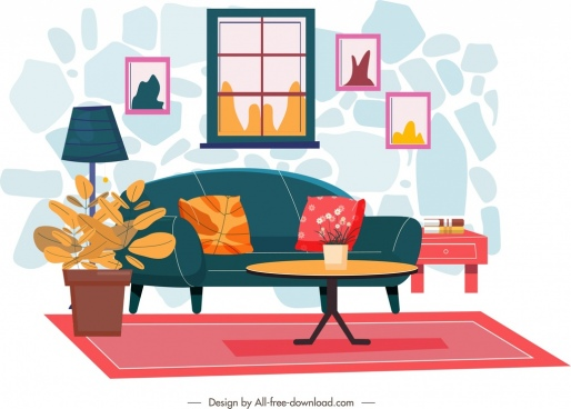 living room decor template colorful warm design
