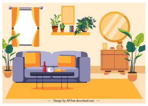 living room decorative template colorful classic elegant design