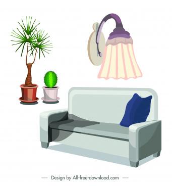 living room furniture icon sofa flowerpot light sketch