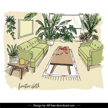 living room painting elegant decor classical handdrawn