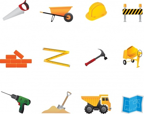 construction work design elements colorful tools equipment icons