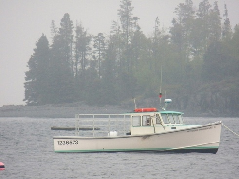 lobster boat in fog