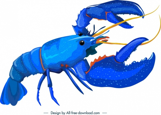 lobster icon blue 3d sketch