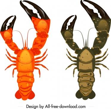 lobster icons big claws decor colored mockup design
