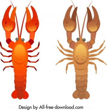 lobster icons shiny brown red sketch