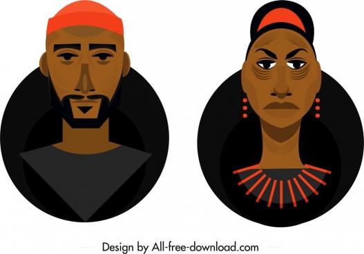 local people avatar icons dark design cartoon sketch