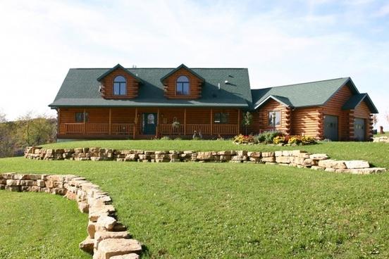log home exterior on hill hilltop