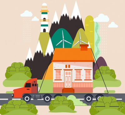 logistic background lorry carrying house icons flat design