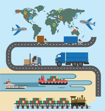 logistic concept transportation symbols and map design