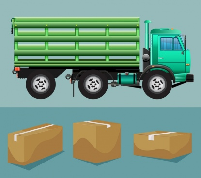 logistic design element truck freight boxes icons