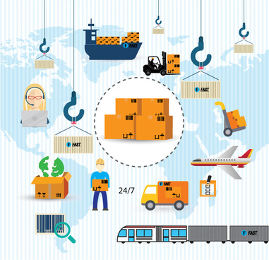 logistics icons vector illustration in colors style