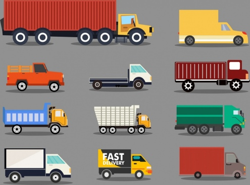 logistics trucks icons collection various cars types