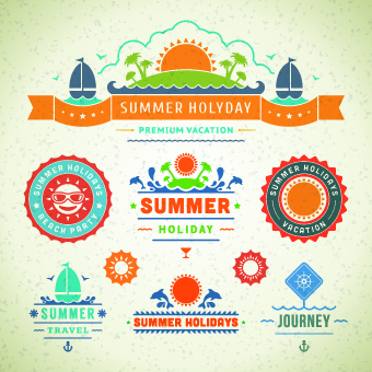 logo and label for summer holidays vector