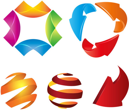 logo design elements illustration with abstract colorful shapes