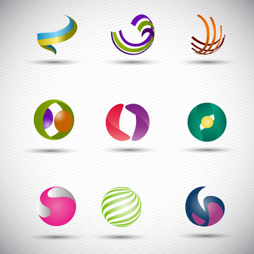 logo design elements in 3d abstract spheres shapes