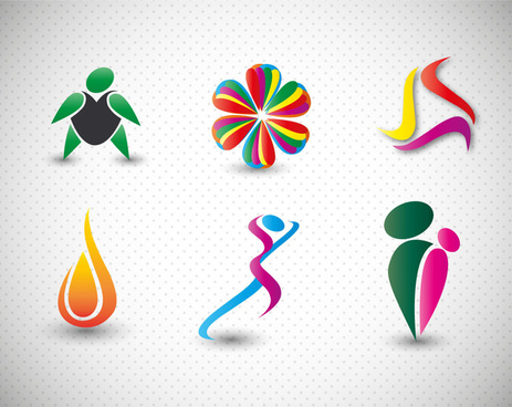 logo design elements in colorful abstract shapes