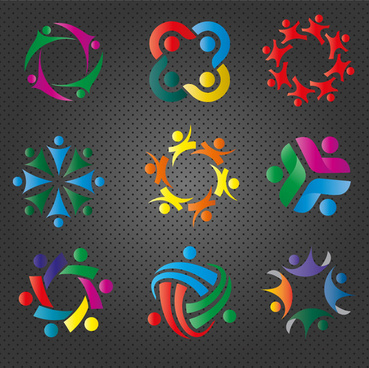 logo design elements in colorful abstract teamwork illustration