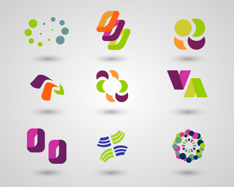 logo design elements with colorful shaped illustration