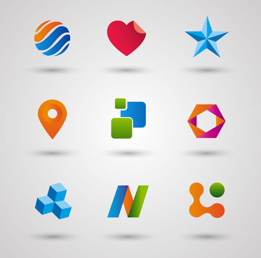 logo design elements with various shapes illustration