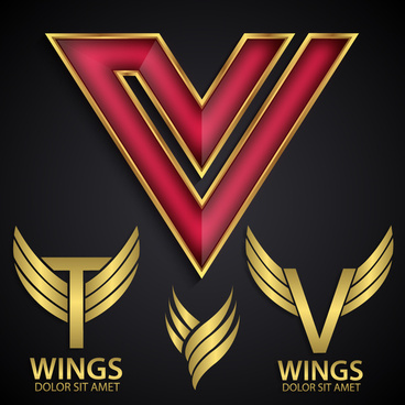 logo design elements with wings illustration
