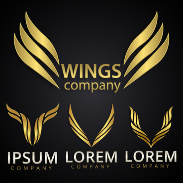 logo design elements with yellow wings illustration