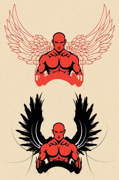 logo design muscle man wings icons sketch