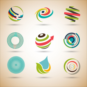 logo design sets with abstract illustration