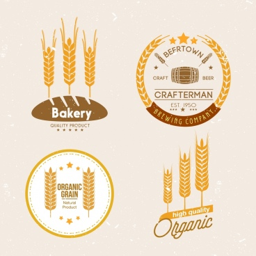 logo design yellow barley flowers icons retro design