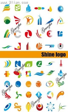 logo templates collection colored flat symbols decor