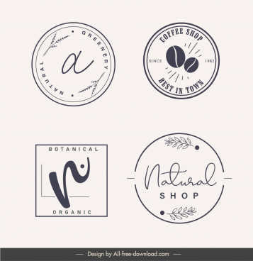 logo label templates simple classic flat sketch