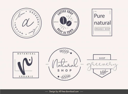 logo label templates simple classical flat shapes