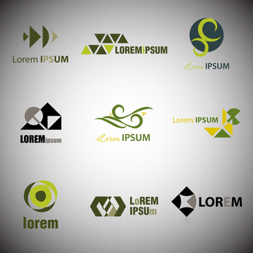 logo sets design with abstract dark color style