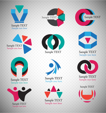 logo sets design with abstract shapes illustration