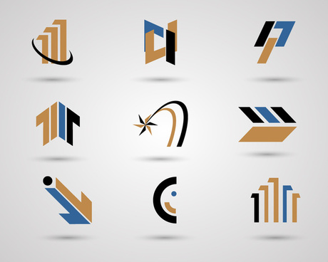 logo sets design with blue brown and black