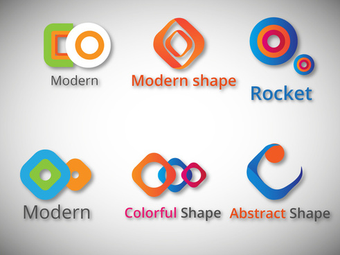 logo sets design with colorful modern abstract shapes