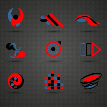 logo sets design with dark red blue black colors