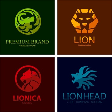 logo sets design with isolated lion emblems