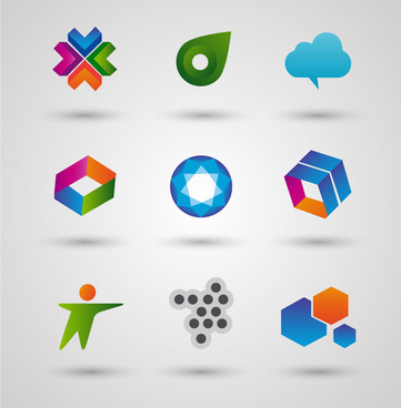 logo sets design with various colored shapes