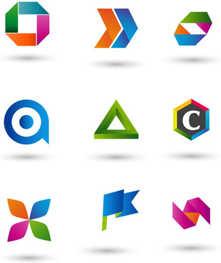 logo sets design with various shapes and colors