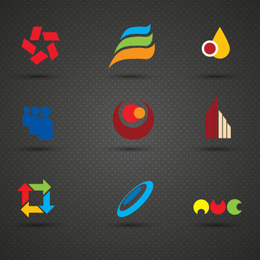 logo sets with abstract design on dark background