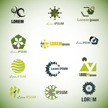 logo sets with abstract style on bright background