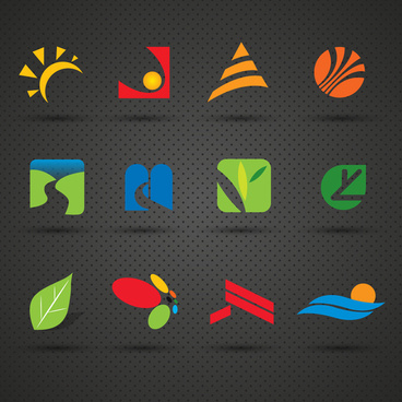 logo sets with colored illustration on dark background