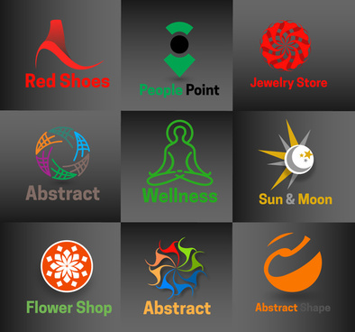 logo sets with various illustration on dark background