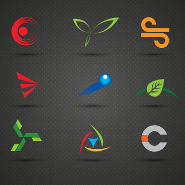 logo sets with various shapes on dark background