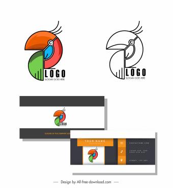 logo template abstract parrot emblem flat geometric design