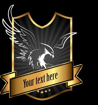 logo template eagle icon golden shiny shield design