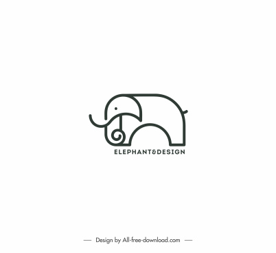 logo template elephant sketch black white handdrawn