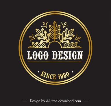 logo template golden flat leaves decor